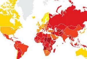 Overzicht van landen op basis van corruptiescore (geel = schoon, rood = corrupt)