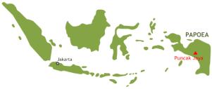 De locatie van de Puncak Jaya
