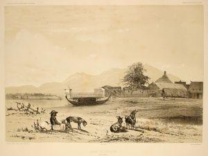 Een oude tekening van de haven van Ternate