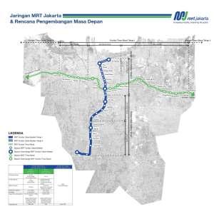 Plattegrond van het geplande metrosysteem van Jakarta.