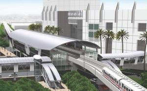 Een artist impression van een bovengronds station van de metro van Jakarta