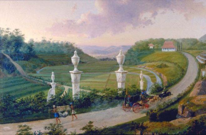 Schilderij van de Grote Postweg in de buurt van Bogor
