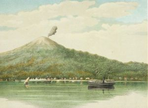 Het uitzicht op Ternate, een tekening uit ongeveer 1885.