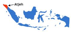 De locatie van de provincie Atjeh in Indonesië.