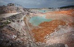 Een tinmijn op Banka heeft het hele landschap verwoest