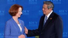 Premier Julia Gillard (Australië) en president Susilo Bambang Yudhoyono (Indonesië)