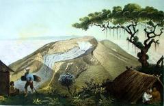 Een tekening van de Gunung Gede door de Duits-Nederlandse ontdekkingsreiziger Franz Junghuhn (1856)