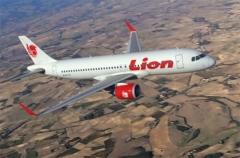 Een artist impression van een Airbus A320 in de kleuren van Lion Air.