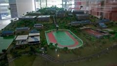 Een maquette van het Hambalang-sportcentrum.