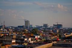Bouwwerkzaamheden in Pekanbaru, de hoofdstad van de provincie Riau
