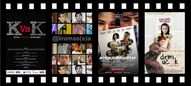 De filmposters van de vier Indonesische films die zondag 7 april 2013 op filmfestival CinemAsia gedraaid worden.