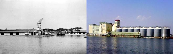 Links: Havenkranen aan de Prouwenhaven van Semarang in 1936 (foto: Tropenmuseum). Rechts: Kunstmestsilo's op min of meer dezelfde plaats in 2011 (foto: Syaiful Amri).