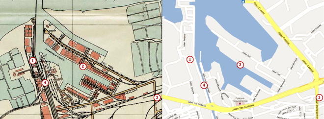 De haven van Semarang op twee kaarten (op dezelfde schaal). De linker kaart is