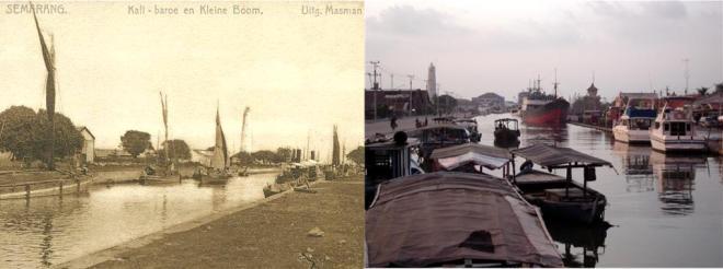 Links: De Kali Baroe op een ansichtkaart rond het jaar 1900 (foto: Koninklijk Instituut voor Taal-, Land- en Volkenkunde). Rechts hetzelfde kanaal vanaf de andere kant gezien, ruim een eeuw later.