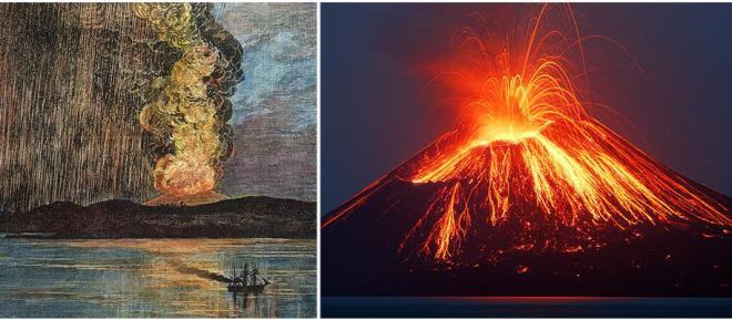 Een schilderij van de uitbarsting van de Krakatau in 1883 en een foto van activiteit van de Anak Krakatau in 2009.