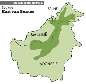 De locatie van het Hart van Borneo op het eiland. Het gebied strekt zich uit over Indonesië, Maleisië en Brunei.