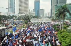 Demonstratie op de Dag van de Arbeid in 2012, in het centrum van Jakarta.