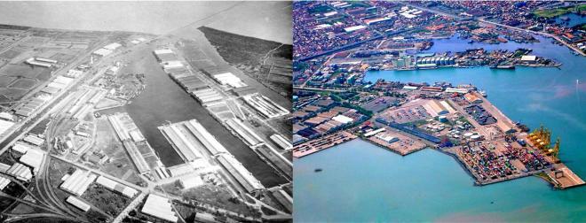 Een oude en nieuwe luchtfoto van de haven van Semarang, uit twee verschillende hoeken.