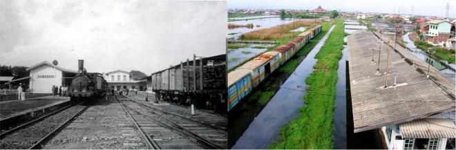 Het station Tambaksari in gebruik in de koloniale tijd, en dezelfde locatie in verlaten toestand nu.