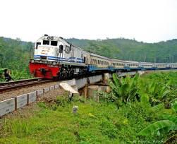 Trein op de route Argo Parahyangan, tussen Jakarta Gambir en Bandung.