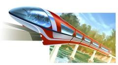 Een tekening van een mogelijke uitvoering van de monorail.