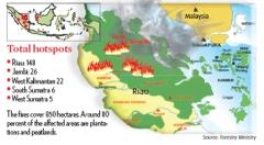 Locaties van de grootste bosbranden, waarvan de rook richting Singapore en Maleisië waait.
