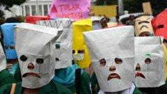 Demonstratie tegen de hogere prijzen in Jakarta.