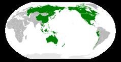De leden van de APEC, rond de Grote Oceaan