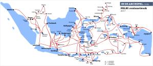 Routes van de PELNI-schepen: o.a. Jakarta-Batam-Tanjung Balai-Medan, Makassar-Baubau-Sorong-Manokwari-Jayapura en Ambon-Banda-Tual-Saumlaki.