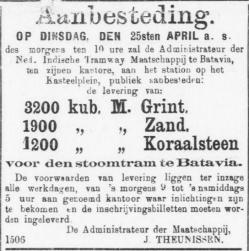 Aanbesteding voor tramlijn 1882