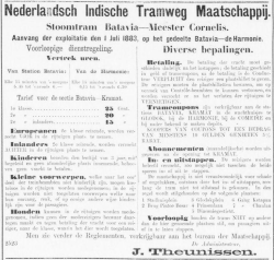 Aanvang stoomtram Batavia 1883