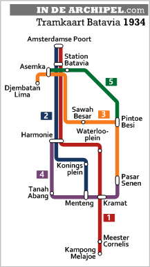 tramkaart Batavia 1934